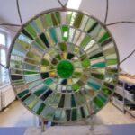 Glas in lood paneel Cirkels in groen met border