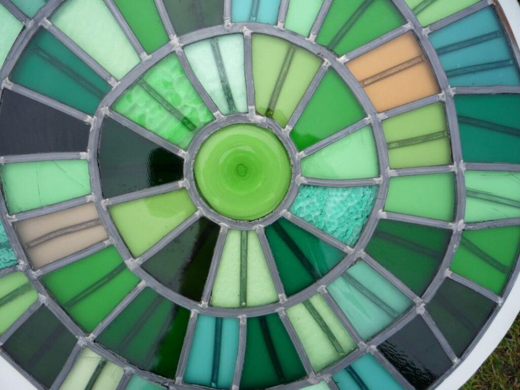 Glas in lood paneel cirkels in groen tinten