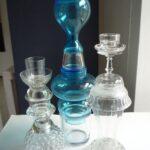 Aqua blauwe glas kandelaren van Atelier27
