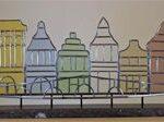 Glas in lood paneel van 6 gekleurde huisjes