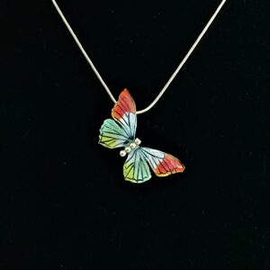 Oranjetipje vlinder zilver met emaille sieraad van CatsCreations