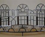Half rond Glas in lood paneel van grachtenhuizen in transparant glas