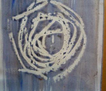 Voorbeeld van intuitief tekenen - witte cirkels op paarse achtergrond