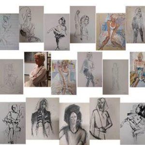 Een collectie van tekeningen van de tekenverenigingen die gebruik maken van de faciliteiten van Atelier27